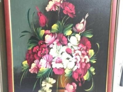 Fig 1 - Fig 1 - Lotto 12: Vaso con fiori olio...